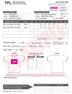 The Print Lab, Inc. - Example Work Order Form